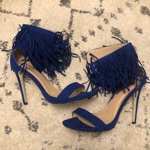Blue Fringe Heels